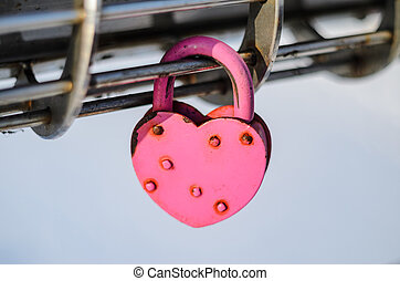 Pink Padlock in the shape of heart