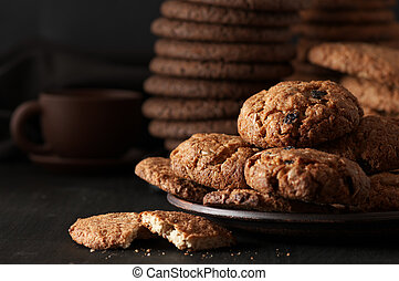 Various cookies in plate - Oat cookies with cereals and...