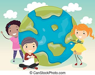 Stickman Kids Our World - Stickman Illustration of a Group...