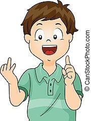 Menino, contagem, criança, mãos