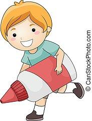 Kid Boy Use Big Glue - Illustration of a Cute Little Boy...