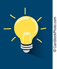 Light Bulb on Dark Blue Background