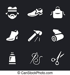 Vector Icons Set of Shoemaker. - Cobbler, shoes, apron,...