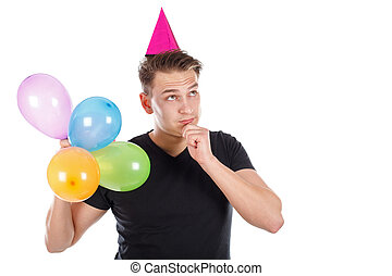 Sexy young man with birthday decoration - Picture of a sexy...