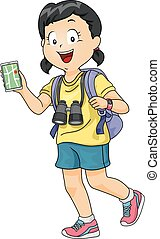 Kid Girl Explorer Gadget - Illustration of a Little Girl...