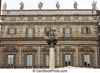 Palazzo Maffei and  Lion of Saint Mark's in Verona. Italy