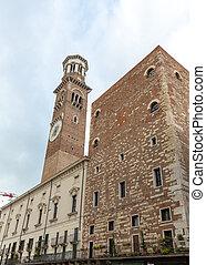 Lamberti tower and  Palazzo della Ragione in Verona. Italy