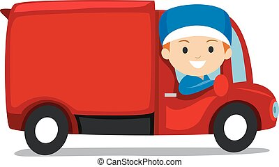 Delivery Man on Truck - Vector Illustration of Delivery Man...