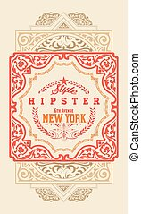 Hipster retro card. Organized by layers