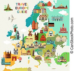 Europe Travel Map. - Europe Map with Famous Sightseeing....