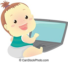 Baby In front of Laptop - Vector Illustration of a Baby In...