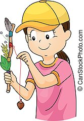 Kid Girl Journey Stick - Illustration of a Girl in a...