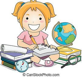 Girl Writing Notes Geography - Illustration of a Little Girl...