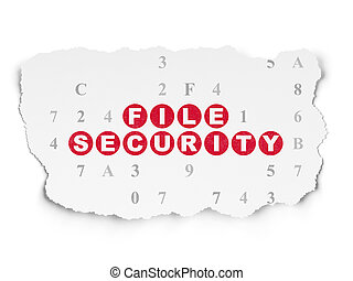 Security concept: File Security on Torn Paper background -...