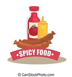 Mustard, sausage and ketchup bottle - Mustard, sausage and...