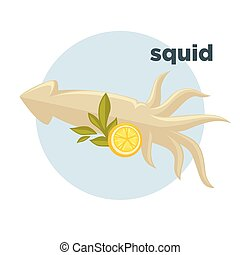 Icon of squid with lemon. Sign of delicacy seafoods in...