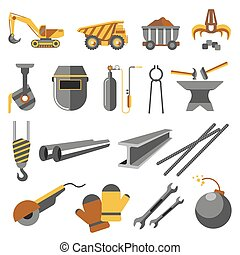 Icons set of metallurgy industry. Symbols of work plant:...