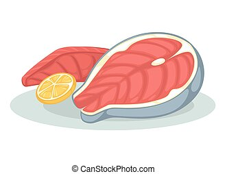 Salmon fillet or tuna steak - Salmon fillet and lemon. Fresh...