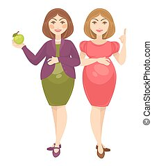 Pregnant women expecting birth baby. - Two pregnant young...