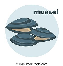 mussel illustration Seafood icon. - Vector mussel. Fresh and...