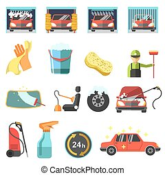 Flat car wash icons. - Car wash icons. Collection symbol and...