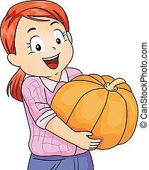 Kid Girl Squash Harvest