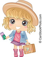 Kid Girl Travel Luggage - Illustration of a Cute Little Girl...