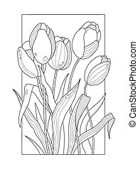 Tulip flowers coloring book vector illustration. Anti-stress...