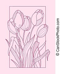 Tulip flowers color hand drawn vector illustration