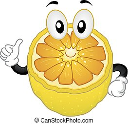 Mascot Lemon Okay Sign