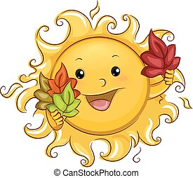 Sun Mascot with Autumn Leaves