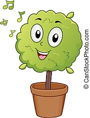 Plant Mascot Listening to Music - Mascot Illustration of a...