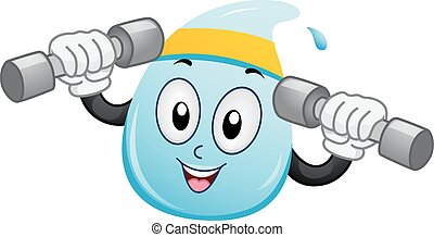 Mascot Water Drop Weights - Mascot Illustration of a Water...