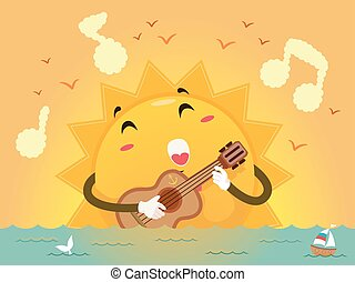 Mascot Sunset Guitar Song - Colorful Illustration of a Sun...
