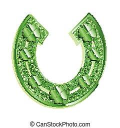 Green horseshoe on a white background.