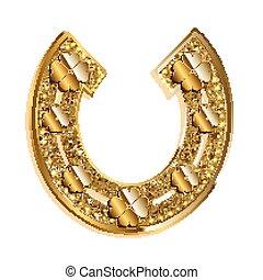 Golden horseshoe on a whiye background - Golden horseshoe...