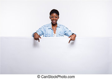 black woman on white empty panel - concept with young...