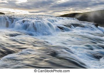 Gullfoss Falls on Iceland with Sunlight - Gullfoss Falls...