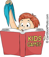 Kid Boy Book Games Blindfold - Illustration of a Cute Little...