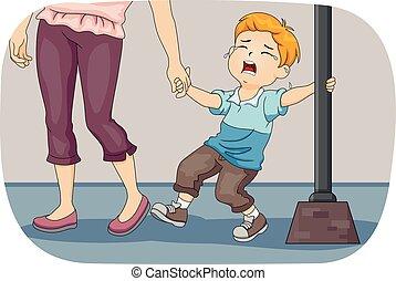 Kid Boy Mom Pull Cry - Illustration of a Little Boy Wailing...