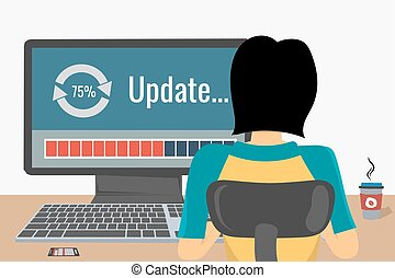 Woman on the workplace - update - Woman working on internet...