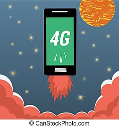 Mobile with 4G internet flying in night sky - Vector banner...