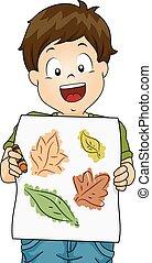 Kid Boy Leaf Rubbings Crayon