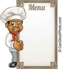 Cartoon Black Chef Menu - Cartoon black chef or baker...