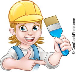 Painter Decorator Woman with Paintbrush - A handyman painter...