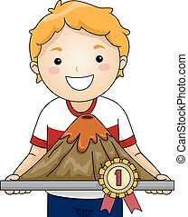 Kid Boy Science Fair Volcano Winner - Illustration of a...