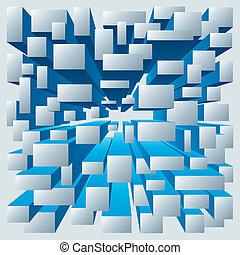 Skyscrapers Top view dynamic perspective Vector Illustration...