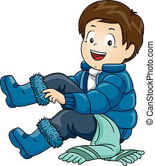 Kid Boy Winter Clothes - Illustration of a Little Boy...