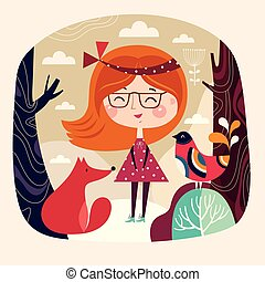Girl with fox and bird