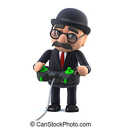 3d Bowler hatted British businessman playing a videogame -...